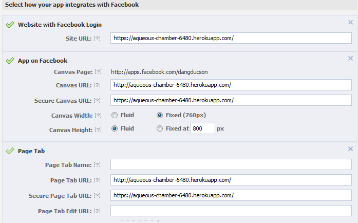 thong tin config heroku voi facebook